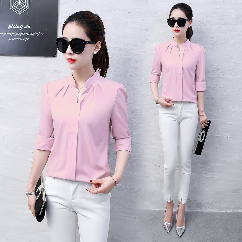 New 2019 Spring Autumn Tops Women Slim Pink Shirts Casual Long Sleeve V-neck Solid Blouse Fashion Womens Chiffon Work Blouses
