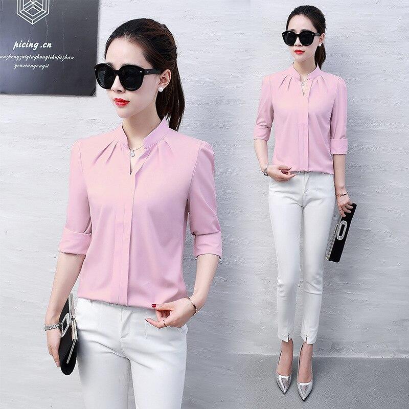 Women Chiffon Office Lady   Blouse   Casual Long Sleeve V-Neck Slim White Red   Shirts   2019 Autumn Tops Fashion Korean Work   Blouses