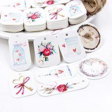 50 pçs flor bonita tag de papel com corda de cânhamo dia dos namorados casamento etiquetas pacote de presente diy festa decoração pendurar tag