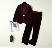GoodliShowsi Autumn High End Velvet Two Piece Sets Wine Red Single Button Sexy V Neck Coat Tops + Long Pants Matching Sets