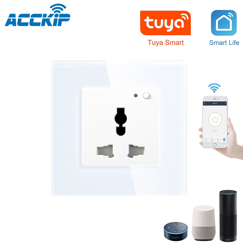 ACCKIP Indien Steckdose AC110-250V Schalter Push Button Arbeitet mit Alexa Google home Tuya <font><b>APP</b></font> Voice Control 13A Wifi Wand buchse image