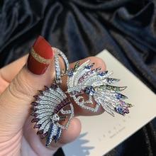 جديد الخريف الإبداعية تصميم رئيس الهندي الرمزية الأقراط غير المتماثلة مايكرو مجموعة ريشة الأقراط محب الهيب هوب نمط أقراط