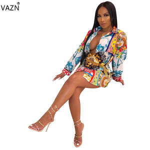 VAZN T-Shirt Dress Button Colors Full-Sleeve Sexy Lady Casual Summer YC1894 Fly New-Product
