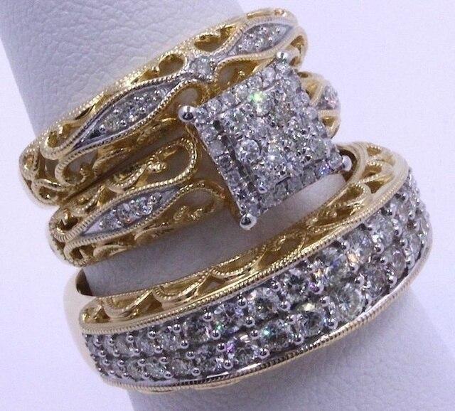FDLK Brand Jewelry Alloy Two-tone White Rhinestone Ring Bridal Wedding Party Ring Set Size 5-12
