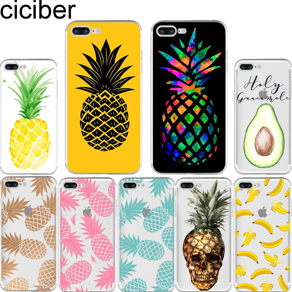 Ciciber Summer Fruit Pineapple Banana Housse en silicone souple pour iphone 11 Pro Max 7 6 S 8 plus 5S SE X XR XS MAX Fundas