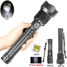 50000 Lumens Most Powerful Led Flashlight Usb Zoom Torch XHP70 XHP50 18650 Rechargeable Battery Outdoor Flashlight