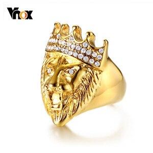 Мужское кольцо с головой льва Vnox в стиле панк, золотистые кольца из нержавеющей стали, блестящие стразы, ювелирные изделия для мальчиков