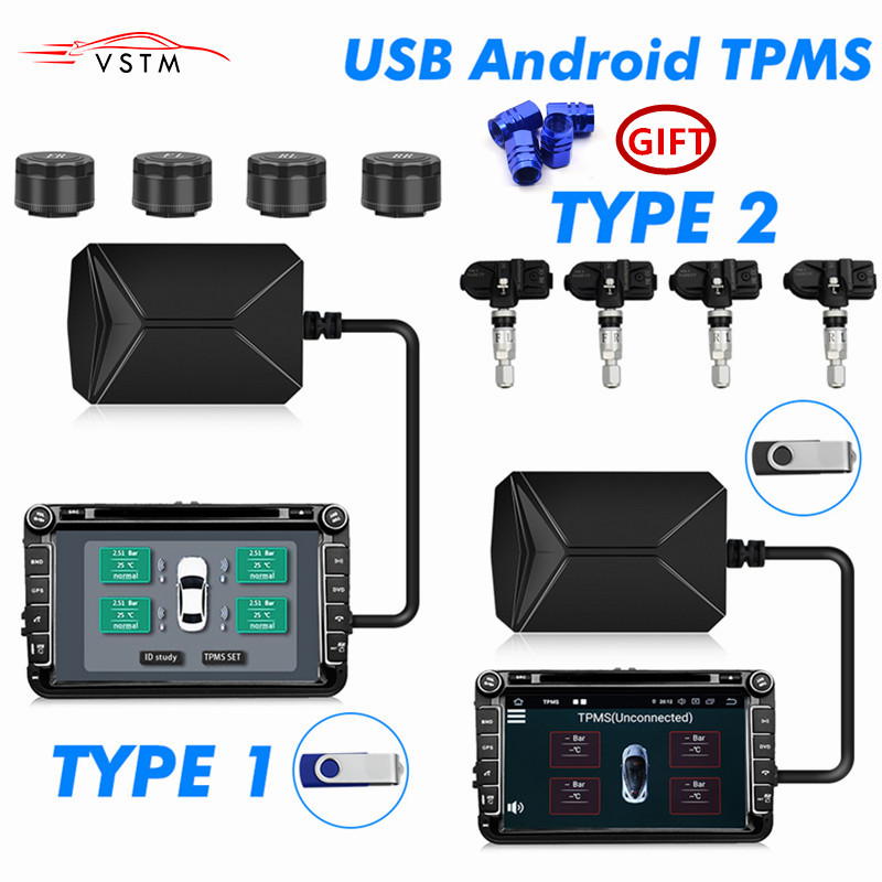 USB TPMS Tyre Pressure Monitoring System Solar With 4 Sensor Power Digital LCD Display Auto Security Alarm Systems