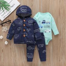 Комплект одежды для маленьких мальчиков, осенняя одежда зимняя одежда для новорожденных 2020, пальто с капюшоном и длинными рукавами + боди + штаны, модная одежда для малышей 6 24 месяцев