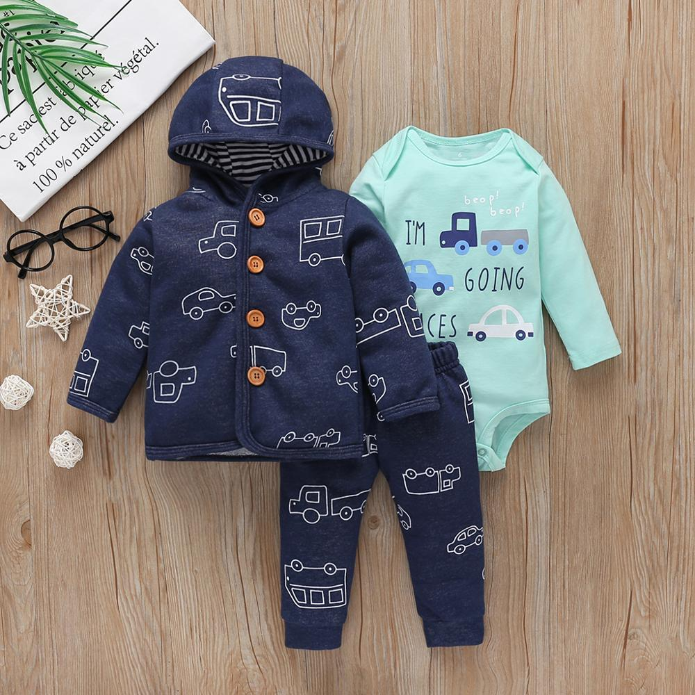 Bebê menino roupas definir outono outfit recém-nascido inverno roupas infantis 2020 manga comprida casaco com capuz + bodysuit calças bebês moda 6-24m