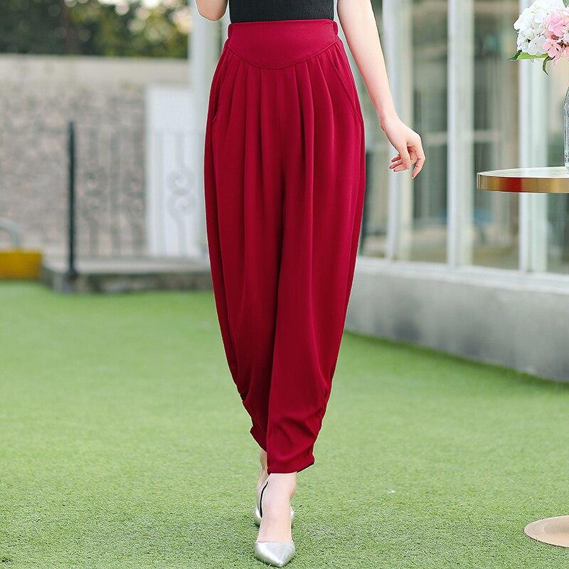 New Summer Harem Pants Women Plus Size 4XL Solid Casual Loose Women Trousers Summer Streetwear High Waist Women Wide Leg Pants