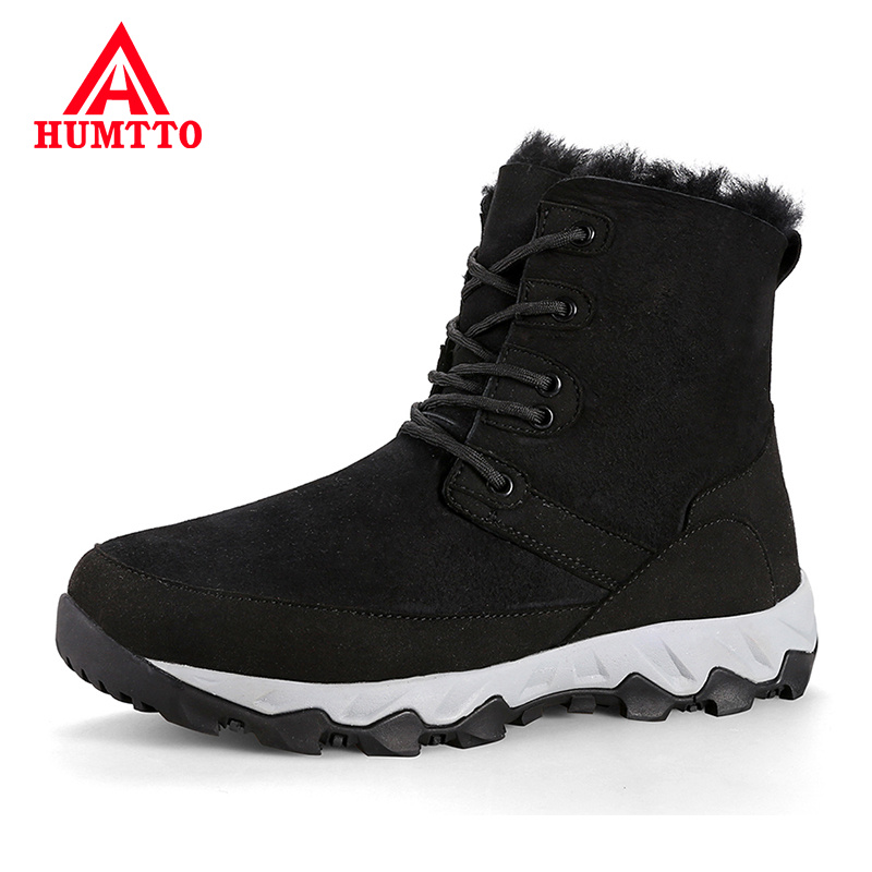 Buy Waterproof Windproof Men Casual Boots Genuine Leather Lace-up Fashion Mens Boots Winter Plus Velvet Warm Outdoor Snow Boots