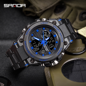 Image 5 - Sports Mens Watch Top Brand Luxury Military Quartz Electronic Watches Waterproof Vibration Alarm Clock relogio masculino SANDA