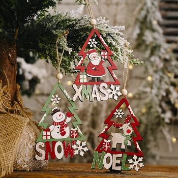 Christmas Wooden Pendants Xmas Tree Hanging Ornaments DIY Wood Crafts Christmas Decorations for Home Navidad Party New Year 2021 image