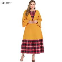 Seluxu 2019 New Autumn Plus Size Women Dress Flare Sleeve Dress Patchwork Floral Print Dress Elegant Large Size Women Dress