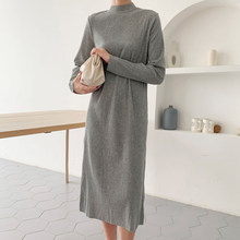 2020 Dress Winter Knitted Stand Collar Women Long Pullovers Autumn Sweater Tricot Pull Femme(China)