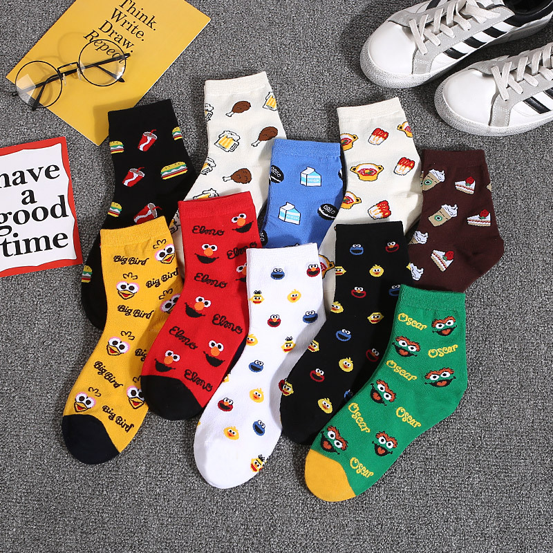 Cartoon Sesame Street Elmo Socks For Girls Cookie Monster Big Bird Oscar Funny Cute  Women Sock Ladies Cotton Socks Cotton