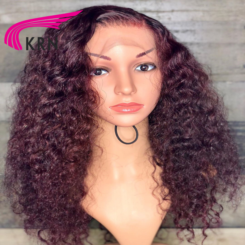 KRN 13x6 Lace Front Wig Ombre Color Curly  Human Hair Wigs With Baby Hair Brazilian Remy Hair Lace Wig Free Part
