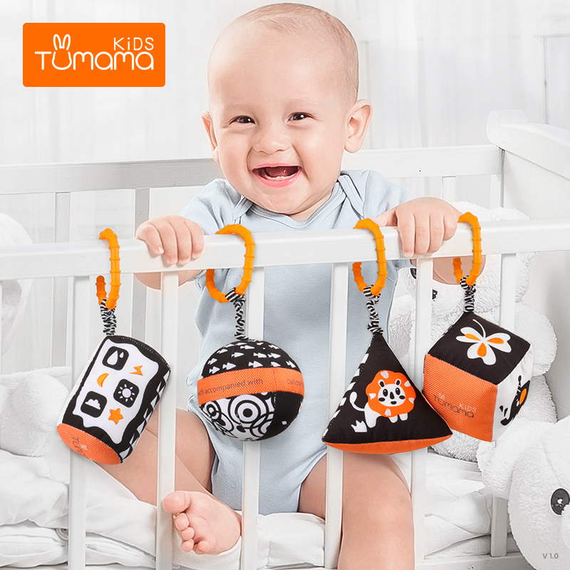 TUMAMA Baby Rattles Black White Baby Stroller Toy For Car Seat Plush Rings Hanging Toy For 0 3 6 9 To 12 Months Newborn Infants