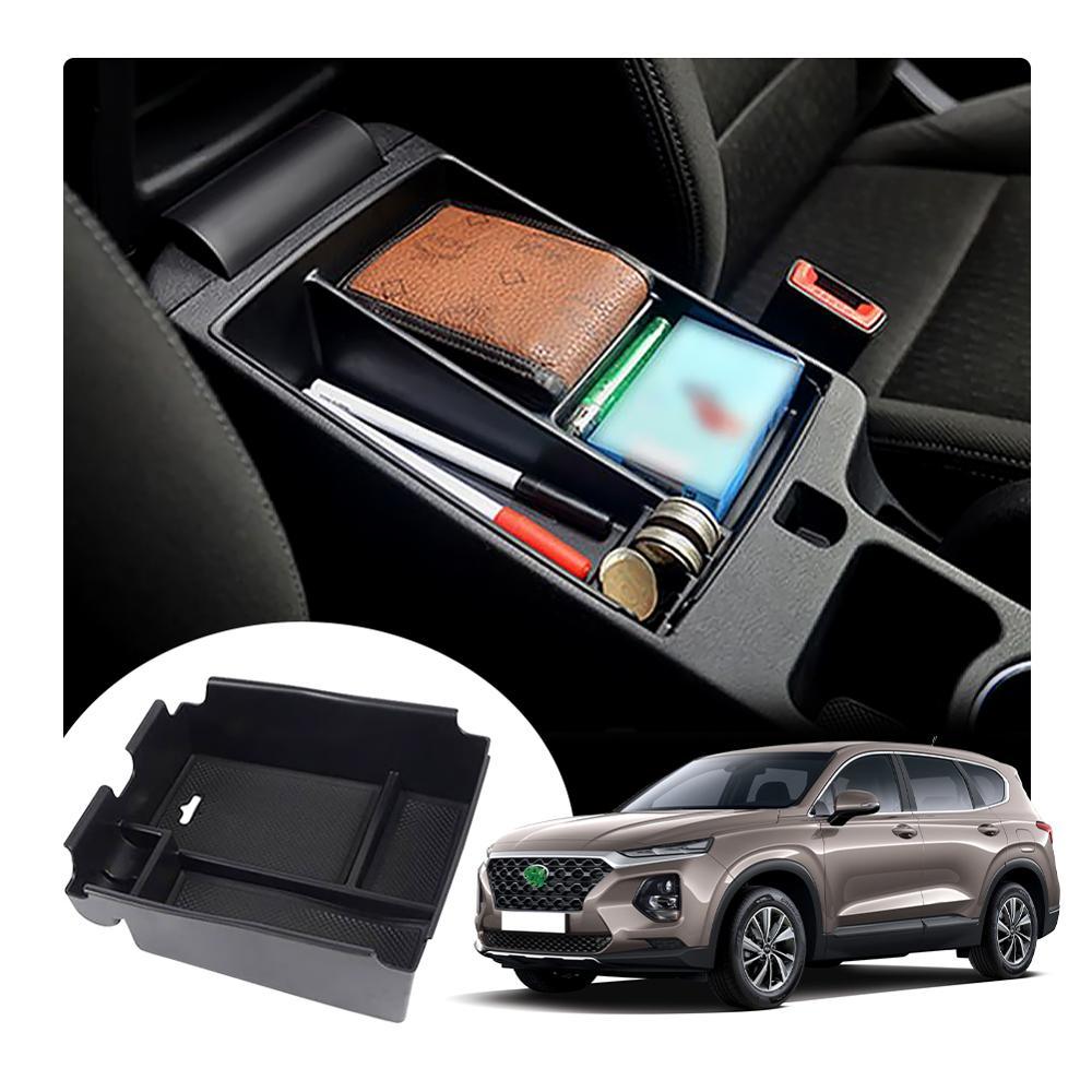 Lfotpp caixa de armazenamento braço do carro para santa fe 2020 veículo recipiente controle central auto interior estilo acessórios preto