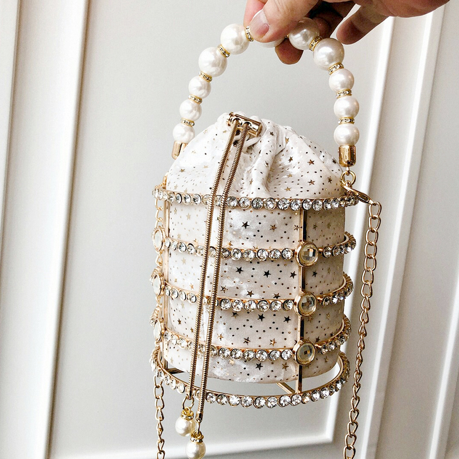 Image 2 - Hollow Out Pearl Bucket Evening Bag Women 2019 Luxury Designer Korean Handmade Alloy Metallic Clutch Bag Ladies Shoulder Bags-in Top-Handle Bags from Luggage & Bags