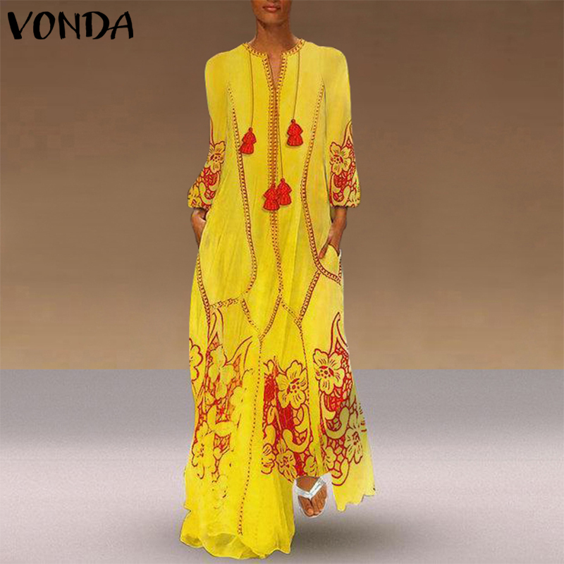 VONDA Womens Bohemian Maxi Long Dress Sexy V Neck Long Sleeve Printed Dresses Plus Size Vestidos 5XL Casual Loose Party Sundress