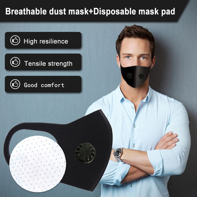 Universal Anti Dust Double Breathing Valve Outdoor Sponge Mouth flu Mask Filter Pad Black Travel Latest Masks