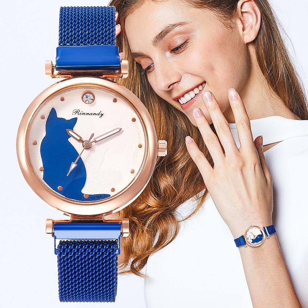 Sexy Small Watches Bracelet  Creative Cartoon Cat Quartz Women's Watch Round Mesh Belt Casual Classic Trend Gift Couple Clock