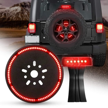 LED 3Rd Third Brake Light+Spare Tire Brake Light Wheel Light for Je ep Wrangler JK Brake Tail Light Lamp Rear High Mount Stop Li