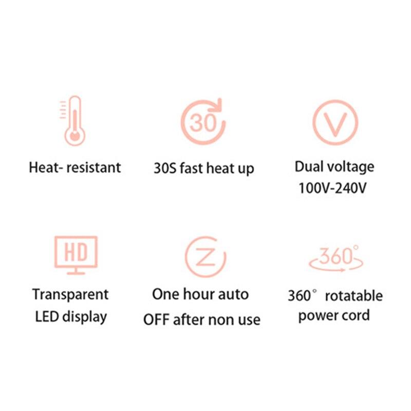 Bigoudi professionnel de titane de Nano de fer à friser rotatif de 32 mm avec l'affichage numérique de la température de LED - 6