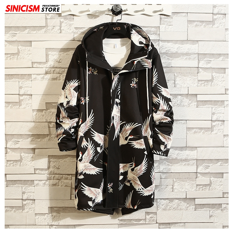 Sinicism Store 2020 Mens Fashion Spring Long Jackets Men Chinese Style Loose Jacket Male Hooded Printed Coat Oversize Clothing