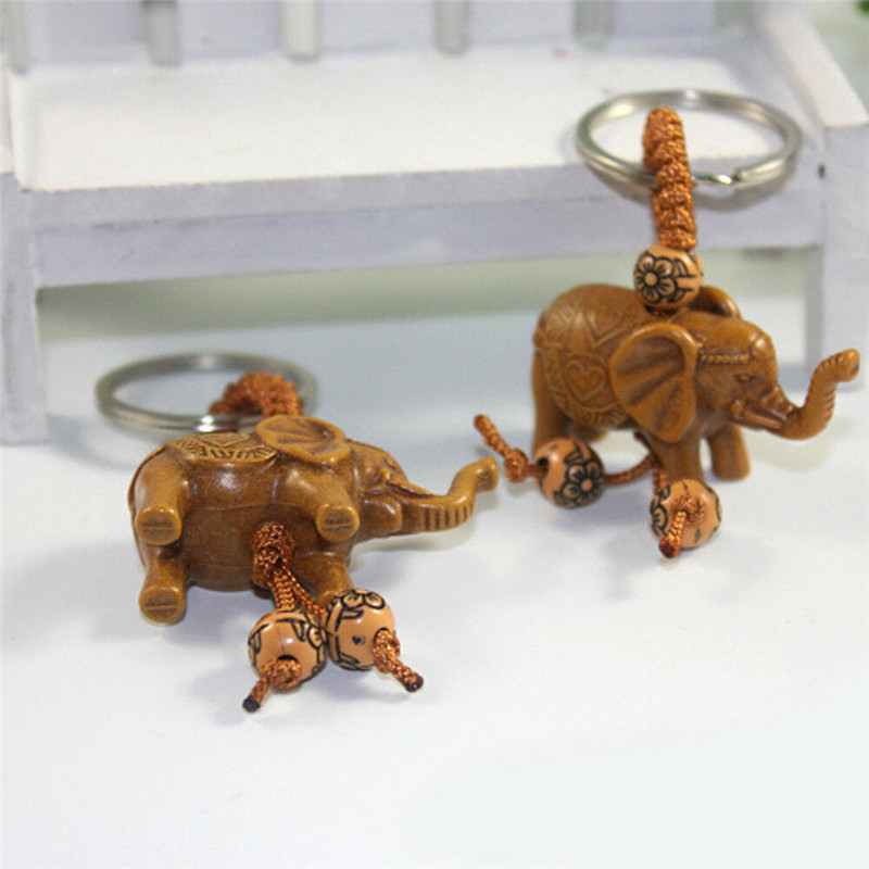 2Pcs Lucky Elephant Keychain Handmade Wooden Carving Craft Elephant Pendant Key Chain Ring Evil Defends Women Girl Gifts