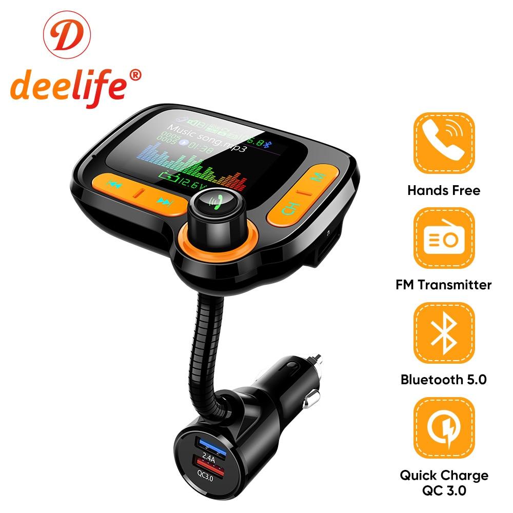 Deelife Bluetooth Handsfree Car Kit Fm Transmitter Modulator for Auto USB MP3 Player BT 5.0 Adapter Hands Free Audio Receiver