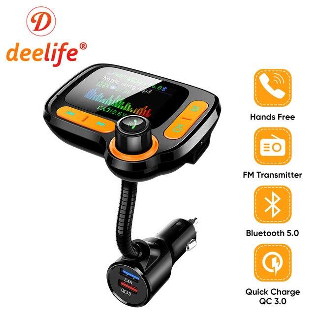 Deelife Bluetooth eller serbest araç kiti Fm verici modülatör için otomatik USB MP3 oynatıcı BT 5.0 adaptörü eller serbest ses alıcısı