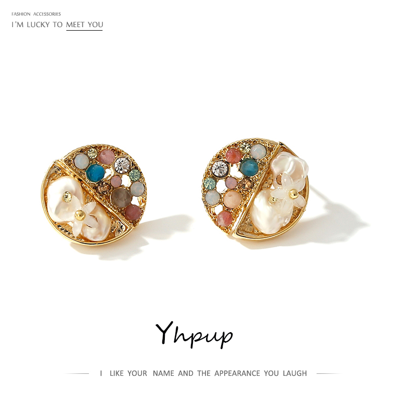 Yhpup Trendy Freshwater Pearls  Crystal Stud Earrings For Women Fashion Geometric Small Earrings Anniversary Gift Jewelry 2020