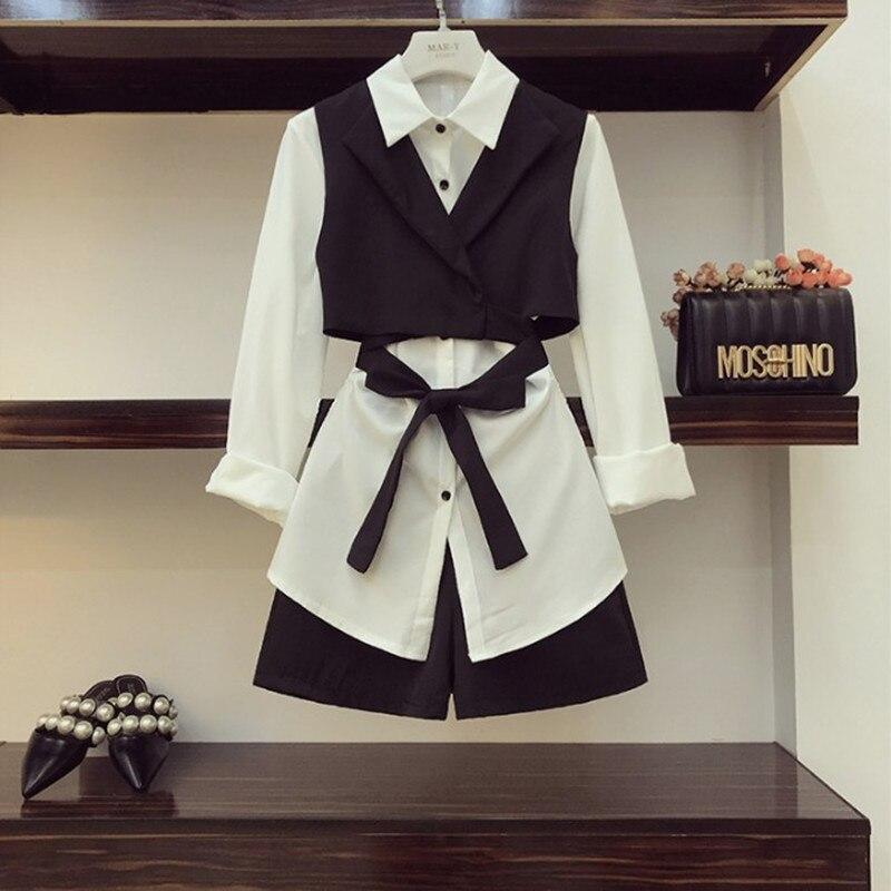 2019 Autumn Women's Long Sleeve White Shirt + Bow Tie Small Vest + High Waist Shorts 3 Pieces Set Ladies Shorts Set