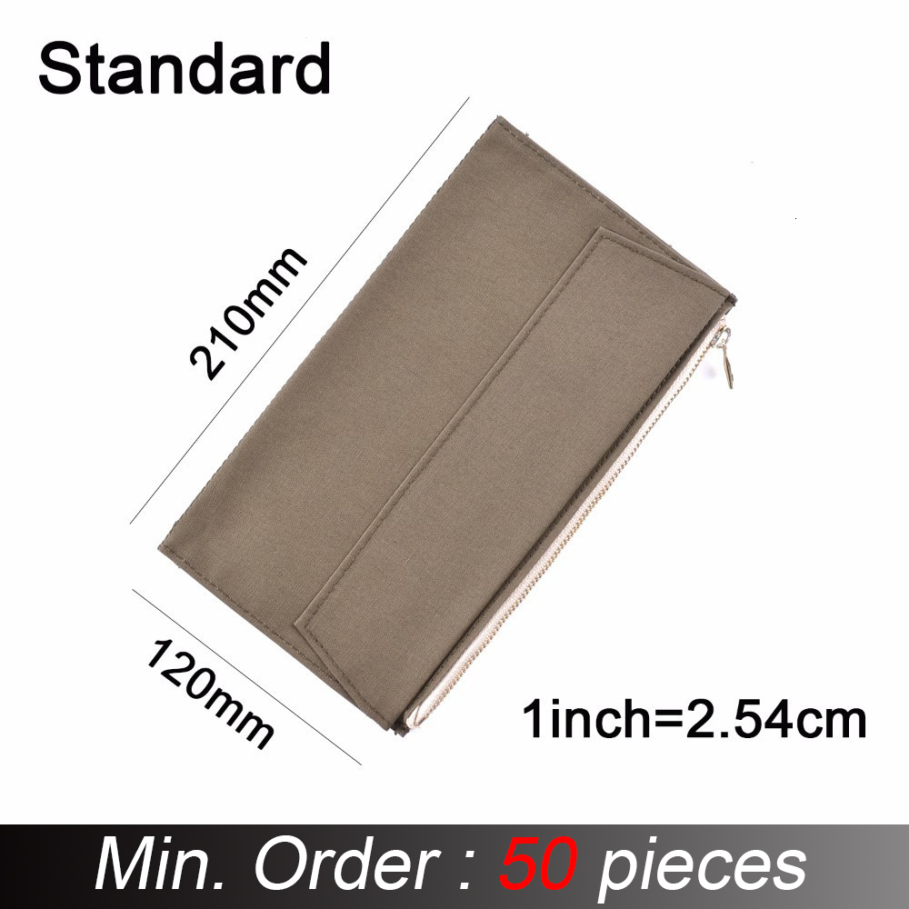 50 Pieces / Lot Standard Regular Size 210x120 Mm Canvas Zipper Pocket For Notebook Accessory Olive Green Card Holder Storage Bag