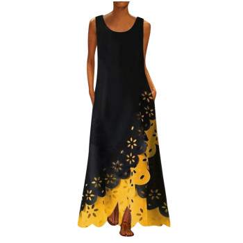 MAXIORILL maxi dress S-5XL woman богемное платье платье bohemian платье женское summer Sleeveless Print Round Neck beach dress цена 2017