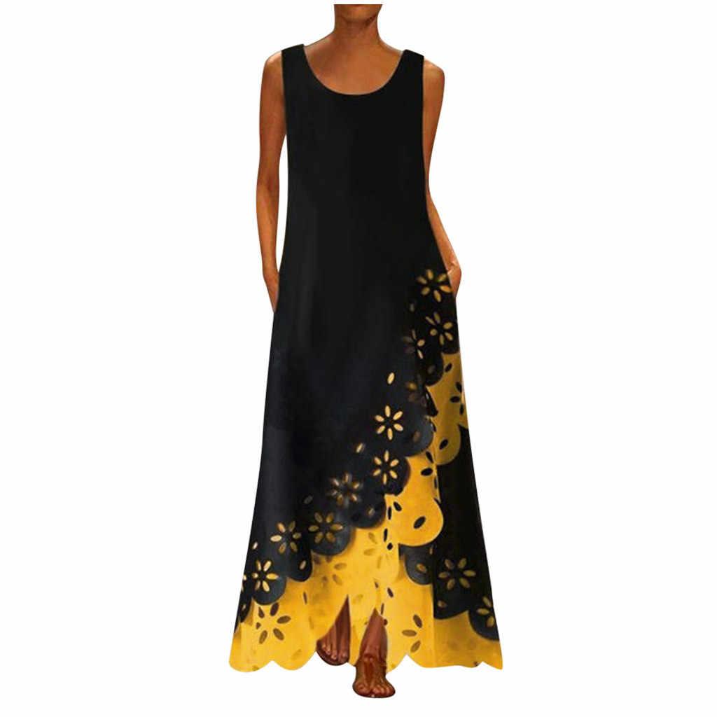 MAXIORILL マキシドレス女性 богемное платье платье ボヘミアン платье женское 夏ノースリーブプリントラウンドネックビーチドレス #3