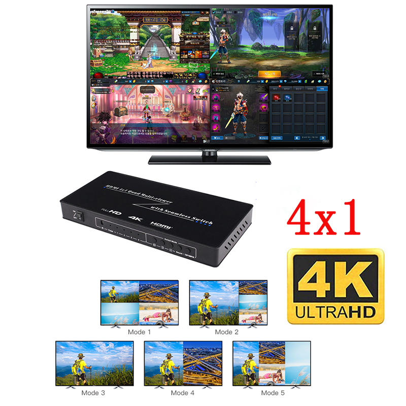 HDMI 4x1 Quad Multi-viewer HDMI Quad Screen Real Time Multiviewerwith HDMI Seamless Switcher Function Support  4K&3DVisual Effec