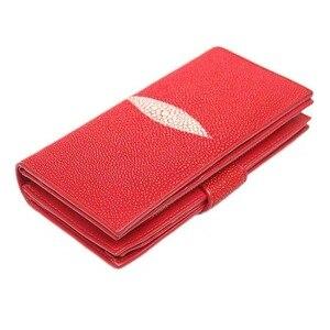 Autentyczne prawdziwe Stingray skóry kobiet długi czerwony portfel pani etui na karty oryginalna egzotyczna skóra kobiet duży telefon torebka z uchwytem