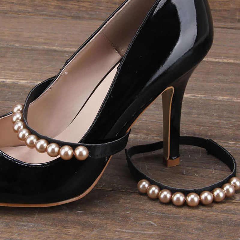 Imitação de pérola saltos faixa sapato acessório decoração tiras elásticas para mulher 1 par cadarço frete grátis