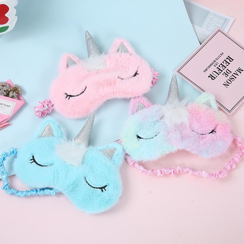 Winter New Plush Unicorn Eye Mask Children Sleeping Mask Suitable Travel Office Relax Shade Cover Eyeshade For Kids Gift