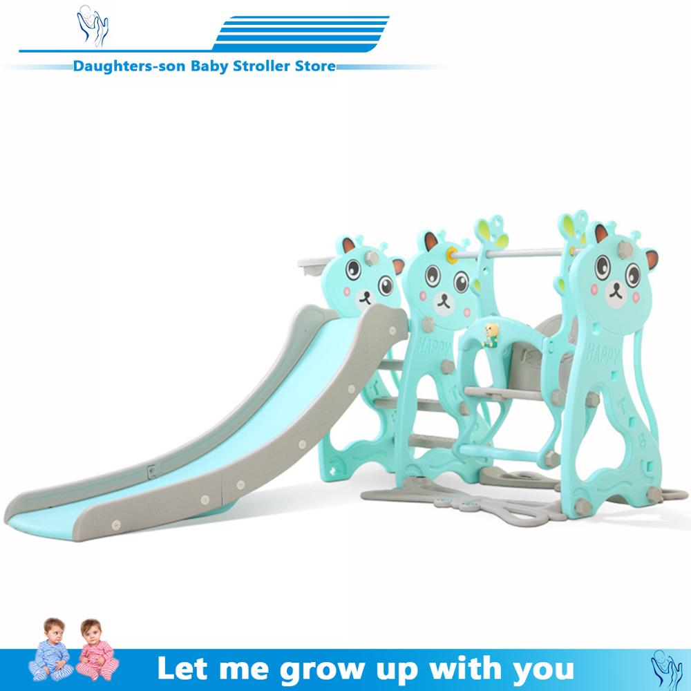 Brand New Plastic Kids Slides And Swing Child Home Playground Plastic Slides Indoor Eco-friendly Slider With Swing+MP3 Music2019