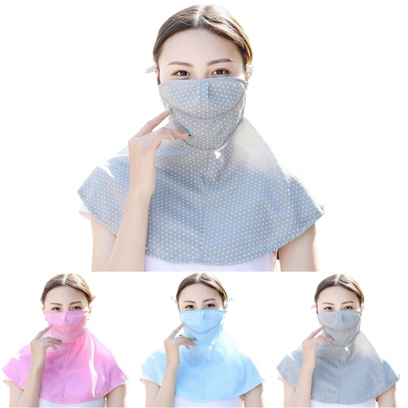 Women Summer Thin Sunscreen Dust Breathable Masks Bandana Mask Dots Print UV Protection Face Mouth Mask Neck Gaiter