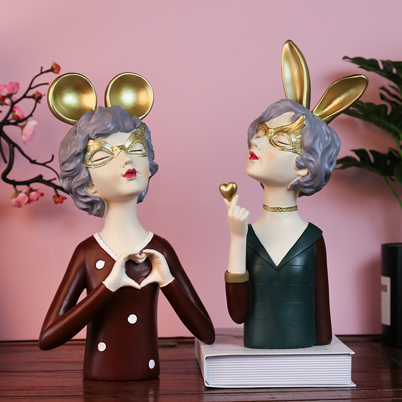 Escultura nórdica creativa de corazón para niñas, adornos de resina, artesanía, decoración del hogar, accesorios, regalos de cumpleaños