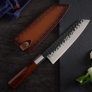 Image 4 - QING High Quality Stainless Steel Forged Knives Hammer Blade Kiritsuke / Chef / Santoku / Nakiri Kitchen Cleaver Cooking Tool
