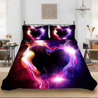 Fanaijia Love print Bedding Set Luxury Valentine's Day Duvet Cover Set with Pillowcase Bed Set Custom Size