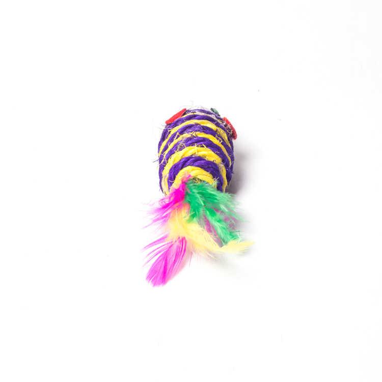 1 pcs 고양이 장난감 틀린 마우스 상호 작용하는 소형 재미 있은 동물 놀기 장난감 새끼 고양이 깃털 꼬리 sisal 밧줄 짜기 공 씹는 장난감