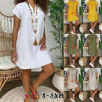 Women Loose Solid Color Dresses Short Sleeve V-neck Plus Size Maxi for Summer 2020  Boho Dress